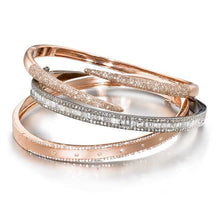 Load image into Gallery viewer, ela rae claudine claw bracelet diamond 14k rose gold sterling silver stacks