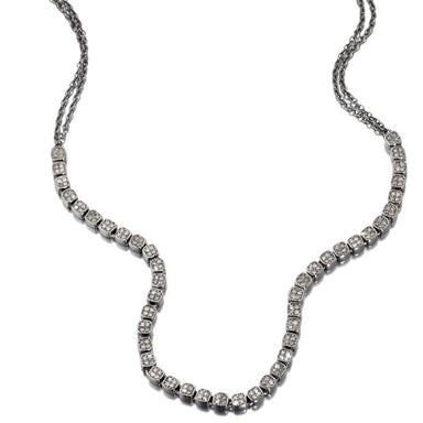 ela rae dina luxe tennis necklace diamond square sterling silver