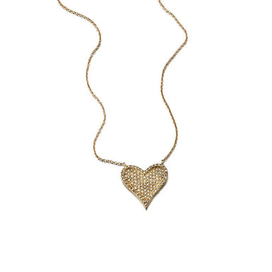 ela rae harley necklace diamond heart 14k yellow gold