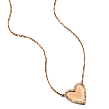 ela rae harley matte necklace diamond pave heart  14k rose gold