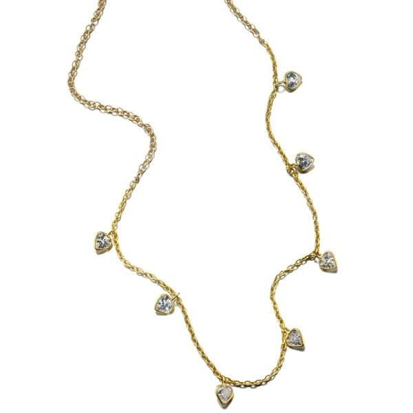ela rae callie cz necklace cubic zirconia 14k yellow gold plate
