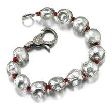 Load image into Gallery viewer, ela rae fallyn balls bracelet diamond clasp sterling silver red silk