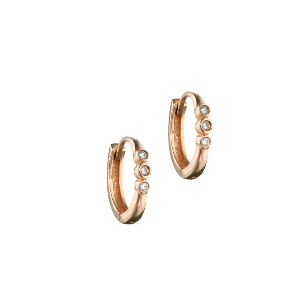 ela rae bondi diamond huggies 14k rose gold