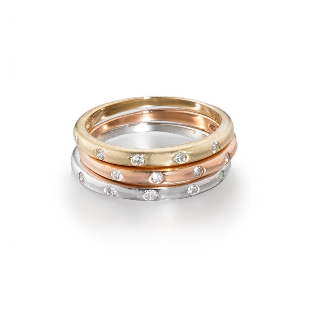 ela rae celine matte diamond ring 14k gold stacking