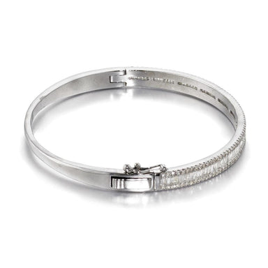 ela rae lara luxe diamond baguette bangle sterling silver