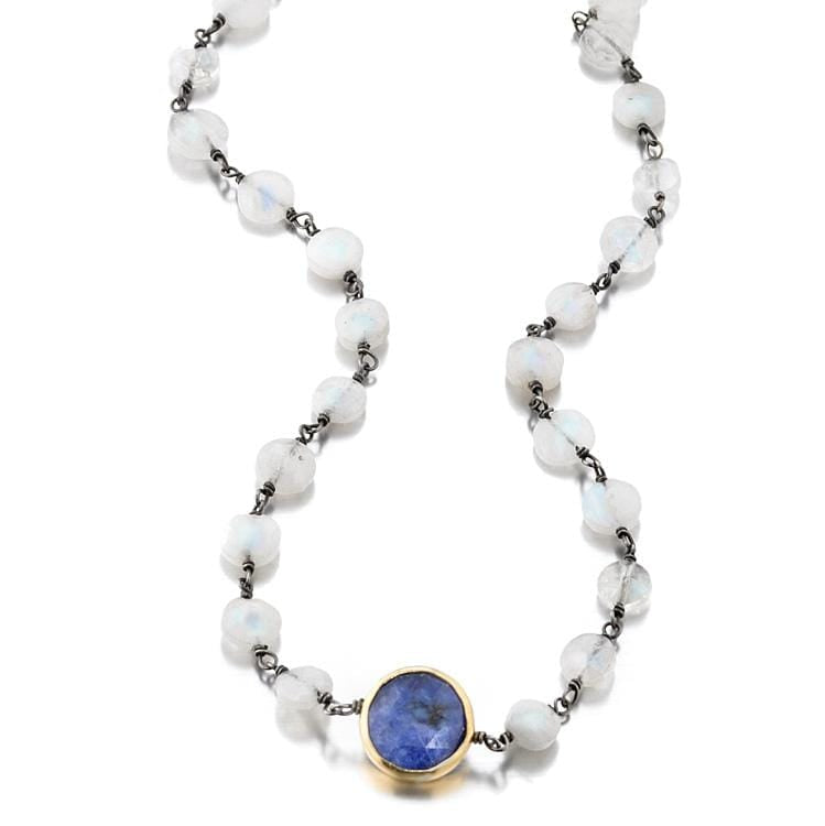 ela rae libi coin necklace rainbow moonstone sapphire sterling silver
