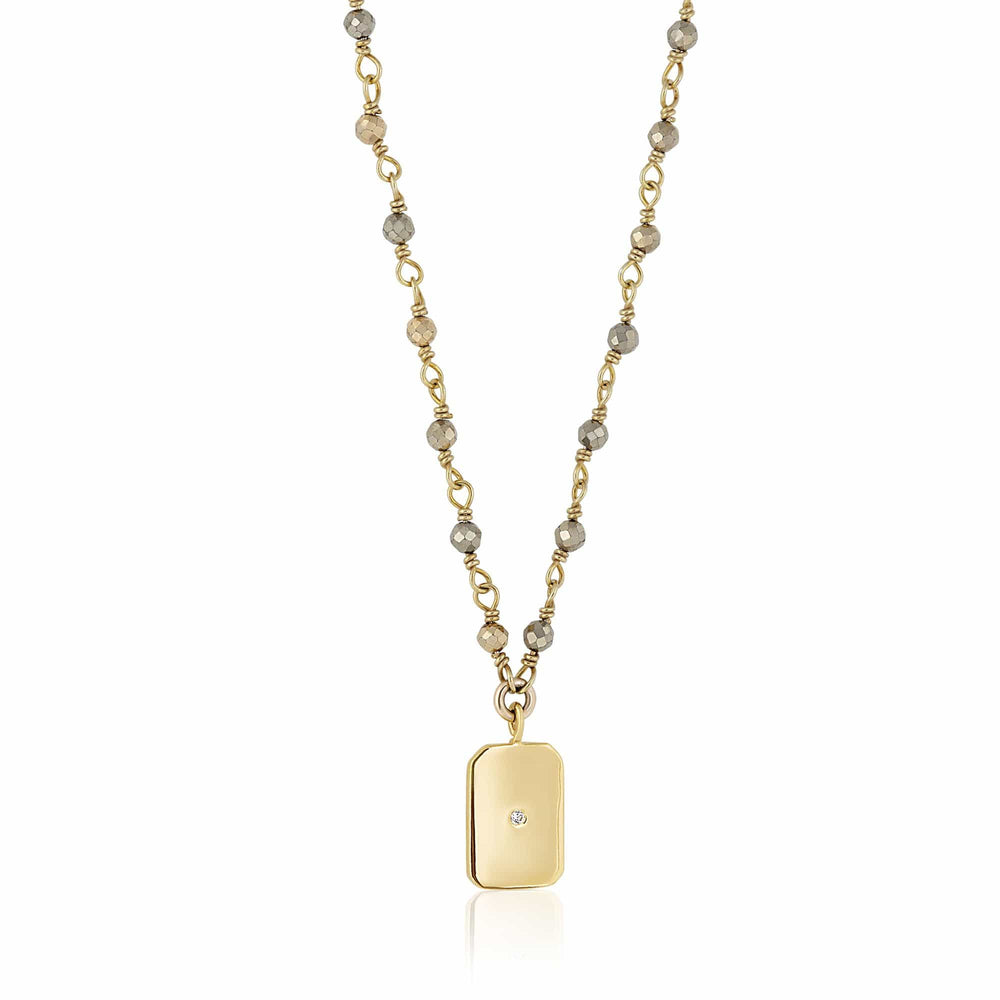 ela rae lara mini rectangle charm necklace semi precious pyrite 14k yellow gold plate