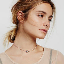 Load image into Gallery viewer, ela rae libi II choker necklace dendrite opal labradorite 14k yellow gold plate on model