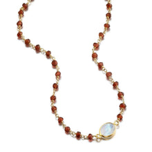 Load image into Gallery viewer, ela rae libi choker necklace garnet rainbow moonstone 14k yellow gold plate