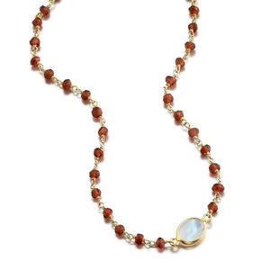 ela rae libi choker necklace garnet rainbow moonstone 14k yellow gold plate