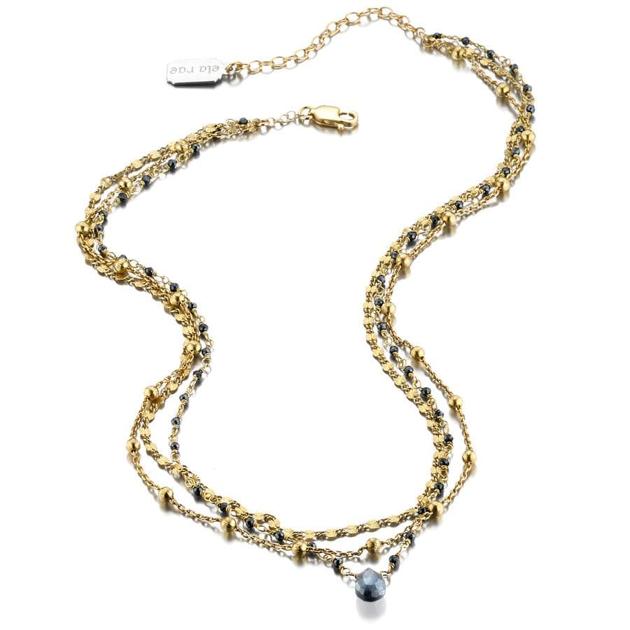 ela rae lina three in one triple layer necklace mystic black spinel moonstone 14k yellow gold plate