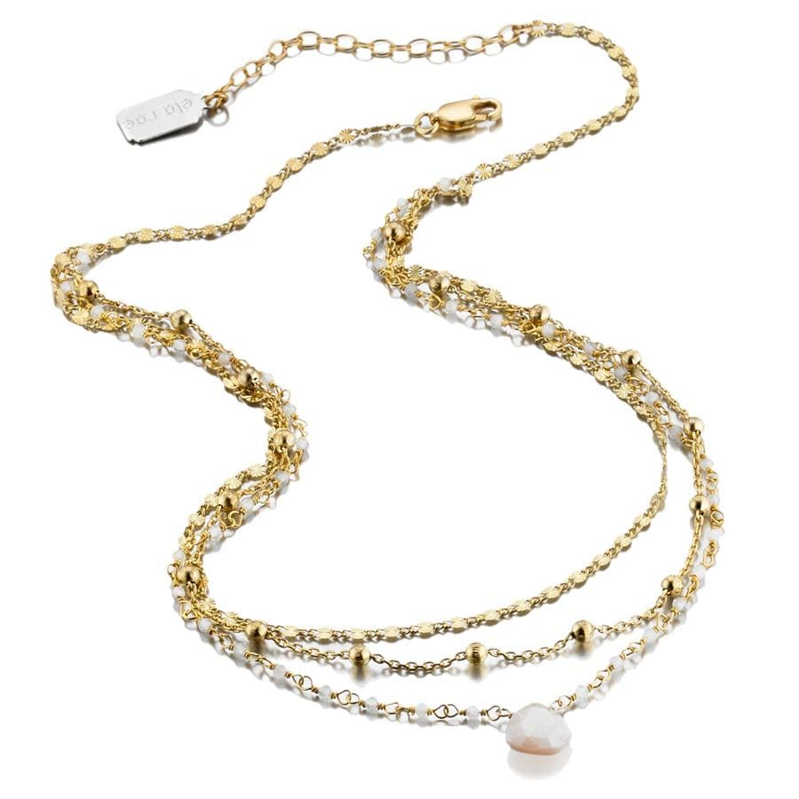 ela rae lina three in one triple layer necklace rainbow moonstone 14k yellow gold plate