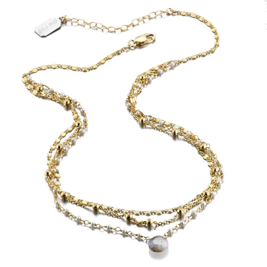 ela rae lina three in one triple layer necklace pearl 14k yellow gold plate