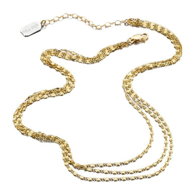ela rae lina triple stamp necklace 14k yellow gold plate