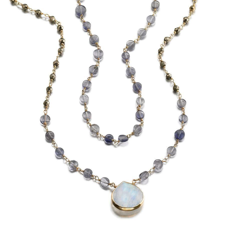 ela rae leandra 2 layer necklace pyrite hematite labradorite 14k yellow gold plate