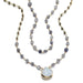 ela rae leandra 2 layer necklace iolite pyrite rainbow moonstone 14k yellow gold plate