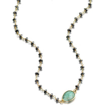 Load image into Gallery viewer, ela rae libi choker necklace hematite emerald 14k yellow gold plate