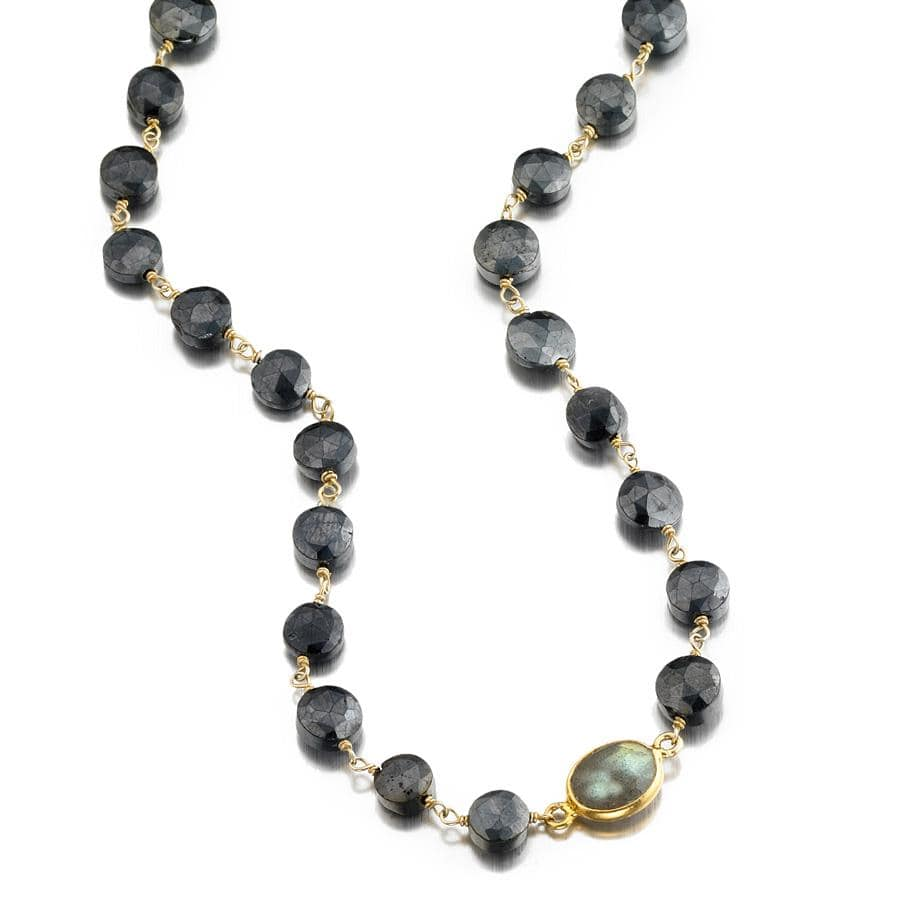 ela rae libi coin necklace mystic black spinel labradorite 14k yellow gold plate