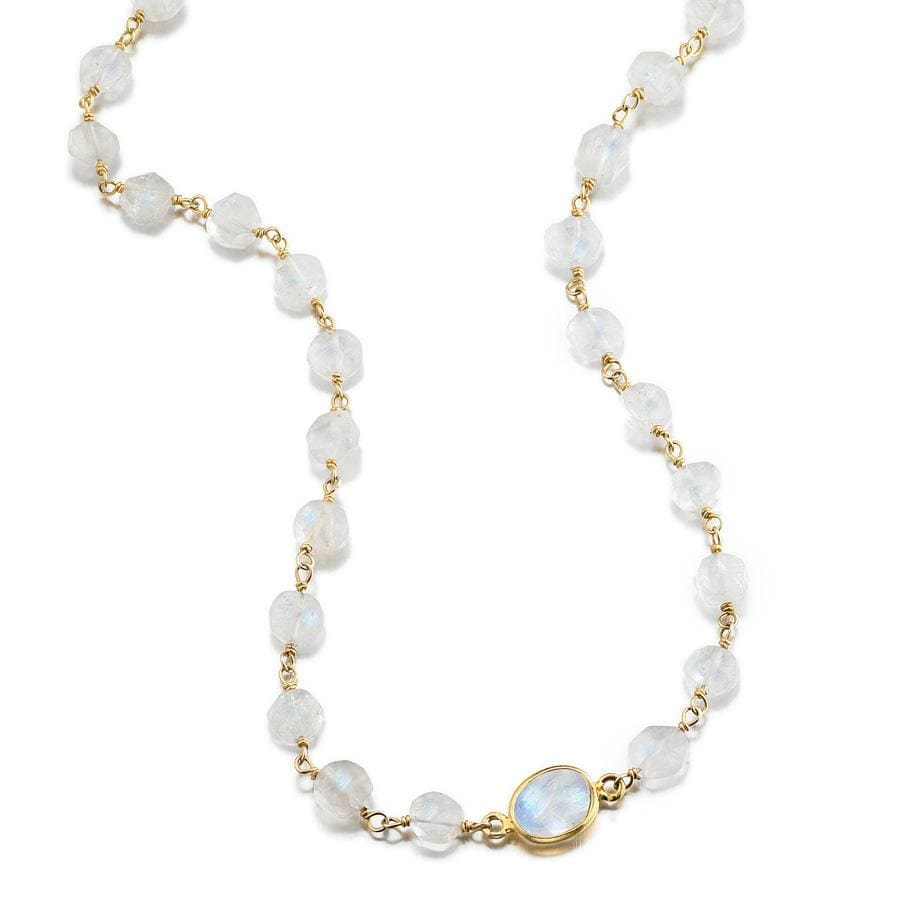ela rae libi coin necklace rainbow moonstone 14k yellow gold plate