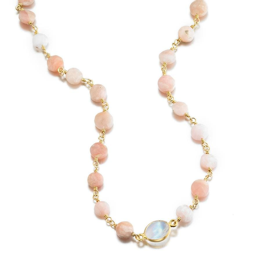 ela rae libi coin necklace pink opal rainbow moonstone 14k yellow gold plate