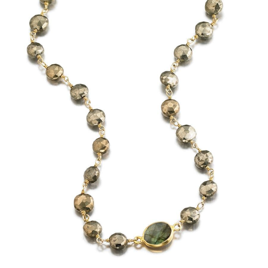ela rae libi coin necklace pyrite labradorite 14k yellow gold plate