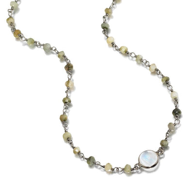 ela rae libi petite necklace catseye rainbow moonstone sterling silver