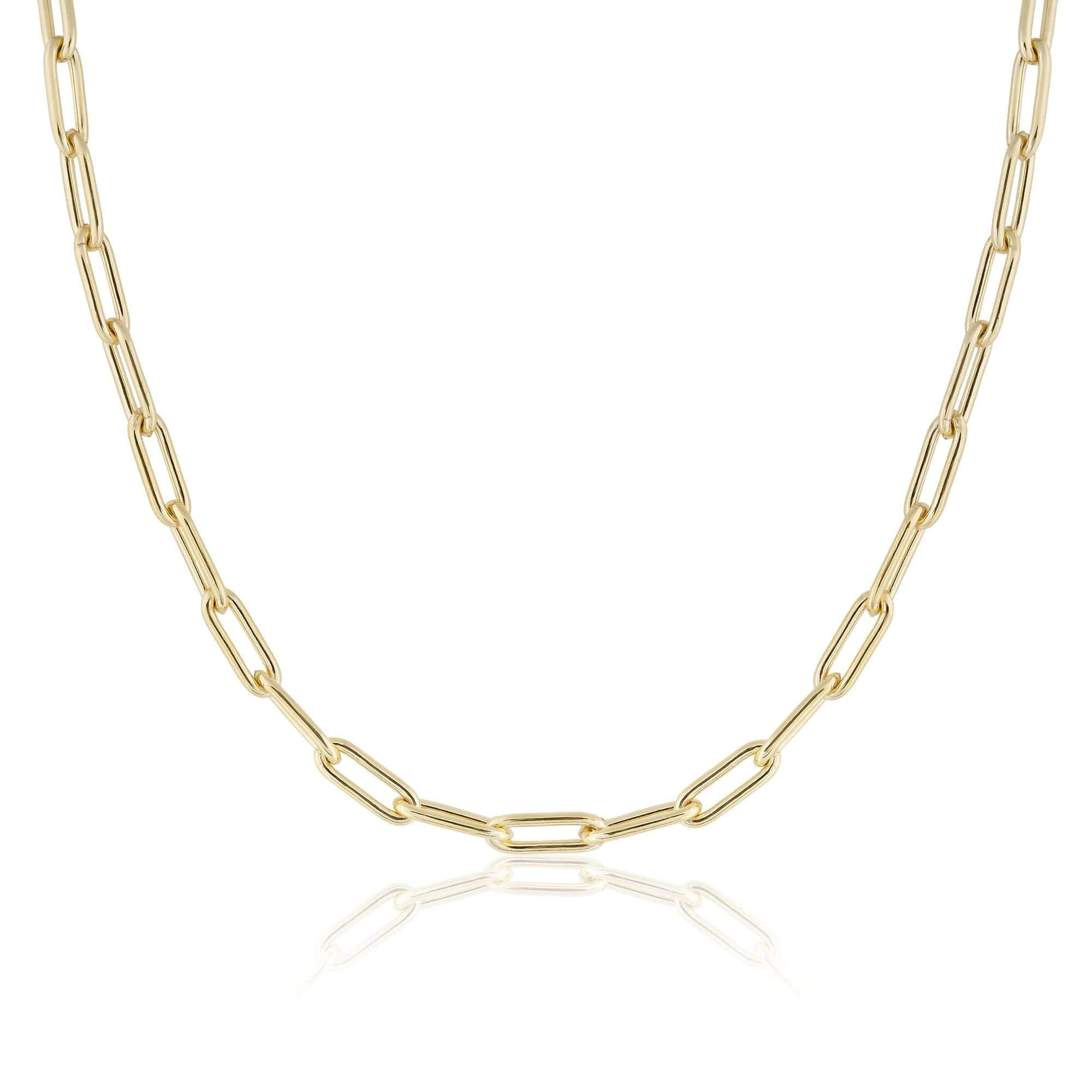 ela rae heavy rectangle chain necklace 14k yellow gold plate