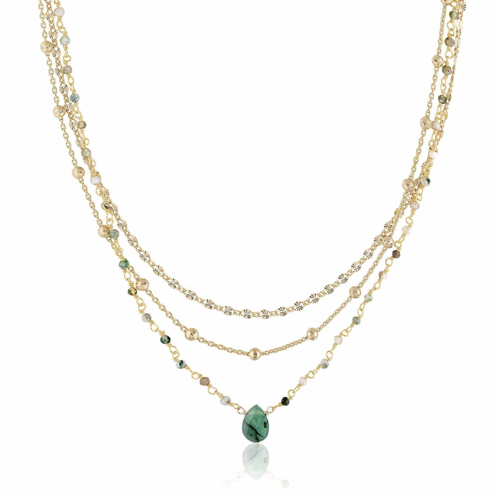 ela rae lina three in one triple layer necklace moss agate 14k yellow gold plate