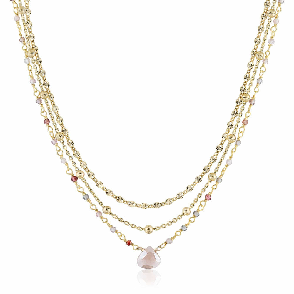 ela rae lina three in one triple layer necklace multi pink spinel 14k yellow gold plate