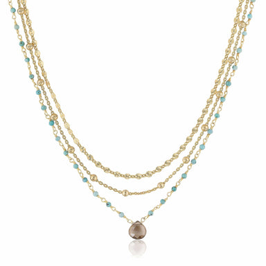 ela rae lina three in one triple layer necklace turquoise smoky quartz 14k yellow gold plate