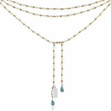 Load image into Gallery viewer, ela rae diana 2mm lariat pyrite 14k yellow gold plate