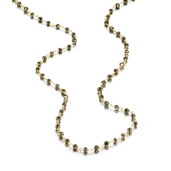 ela rae diana rondelle necklace pyrite 14k yellow gold plate