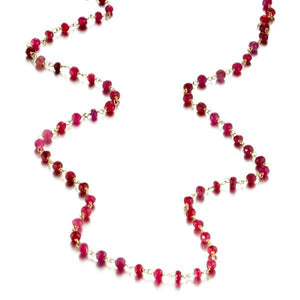 ela rae diana rondelle necklace ruby 14k yellow gold plate