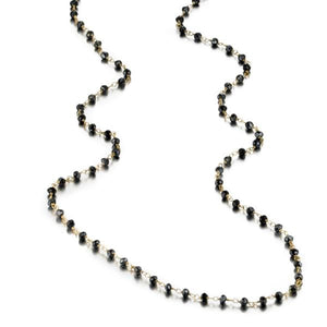 ela rae diana rondelle necklace mystic black spinel 14k yellow gold plate