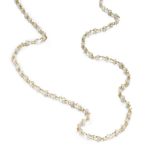 ela rae diana rondelle necklace rainbow moonstone 14k yellow gold plate