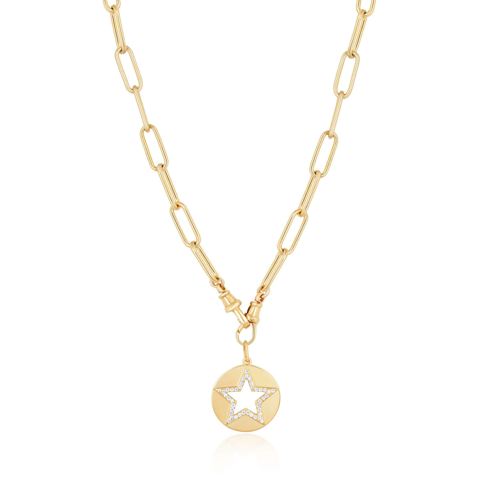 ela rae cut out star double clasp necklace white zircon 14k yellow gold plate