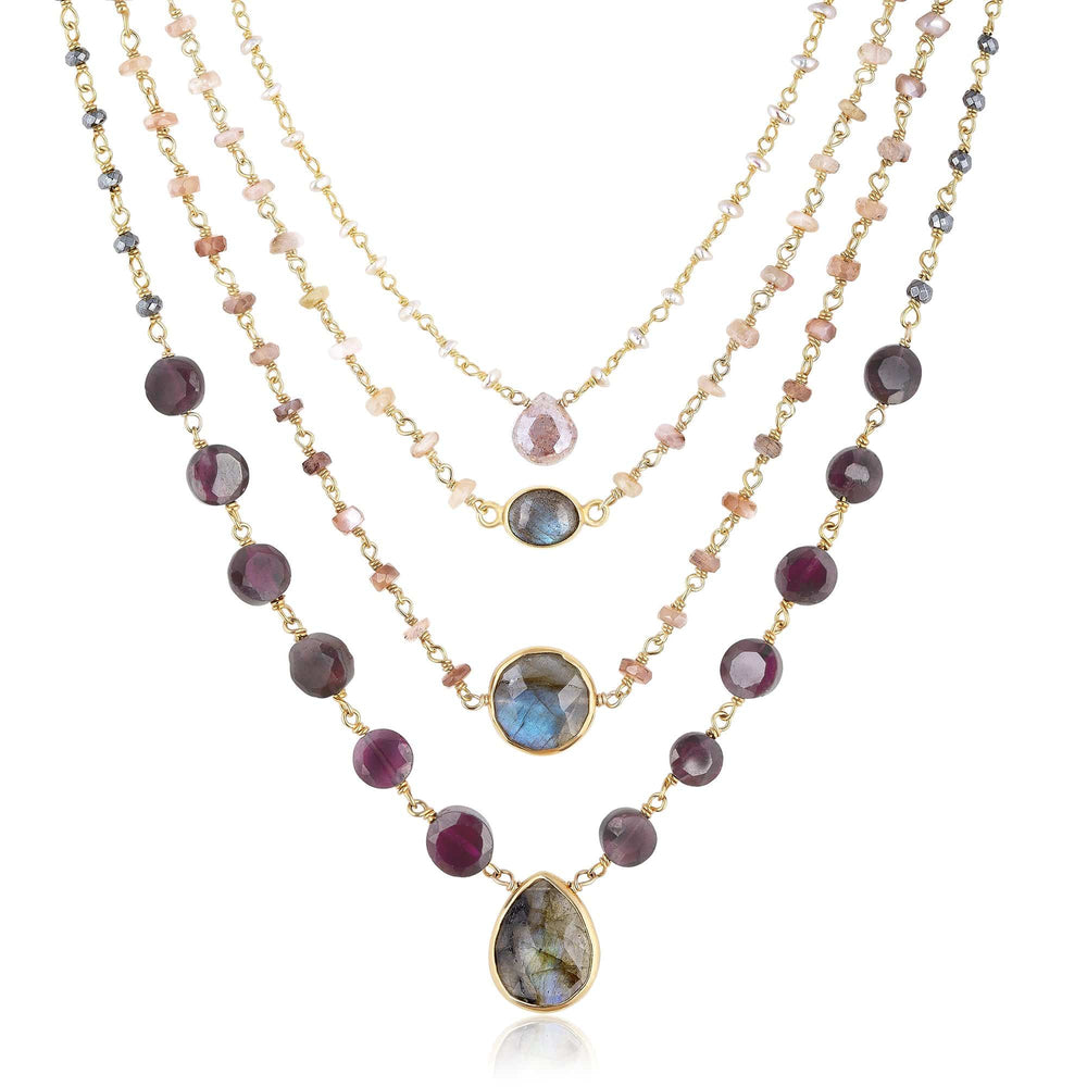 ela rae rose necklace set of 4 garnet brown moonstone pearl silver labradorite 14k yellow gold plate