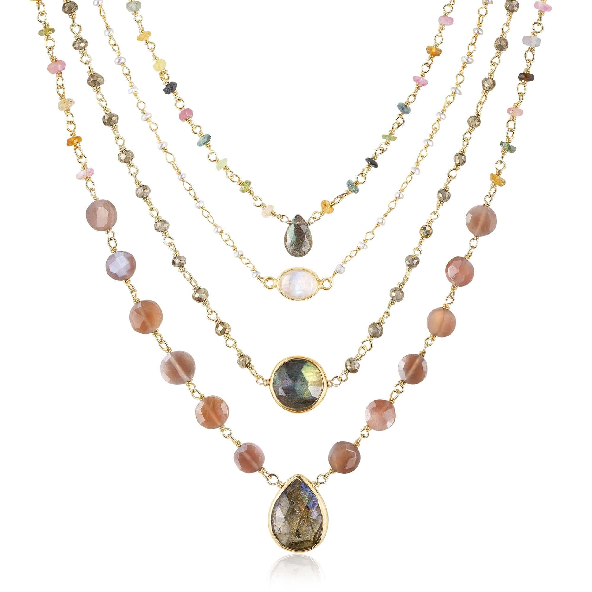 ela rae blush necklace set of 4 pyrite tourmaline rainbow moonstone brown moonstone 14k yellow gold plate