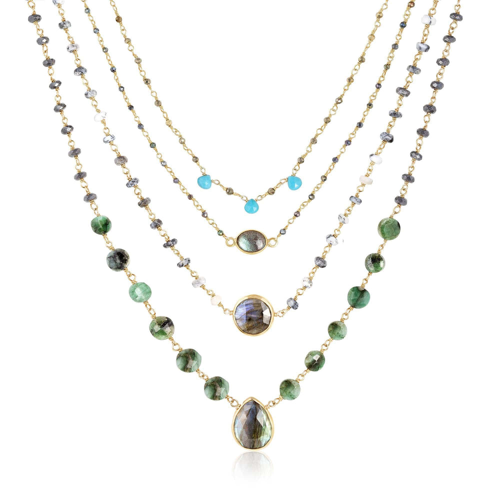 ela rae olive necklace set of 4 turquoise dendrite opal emerald labradorite 14k yellow gold plate