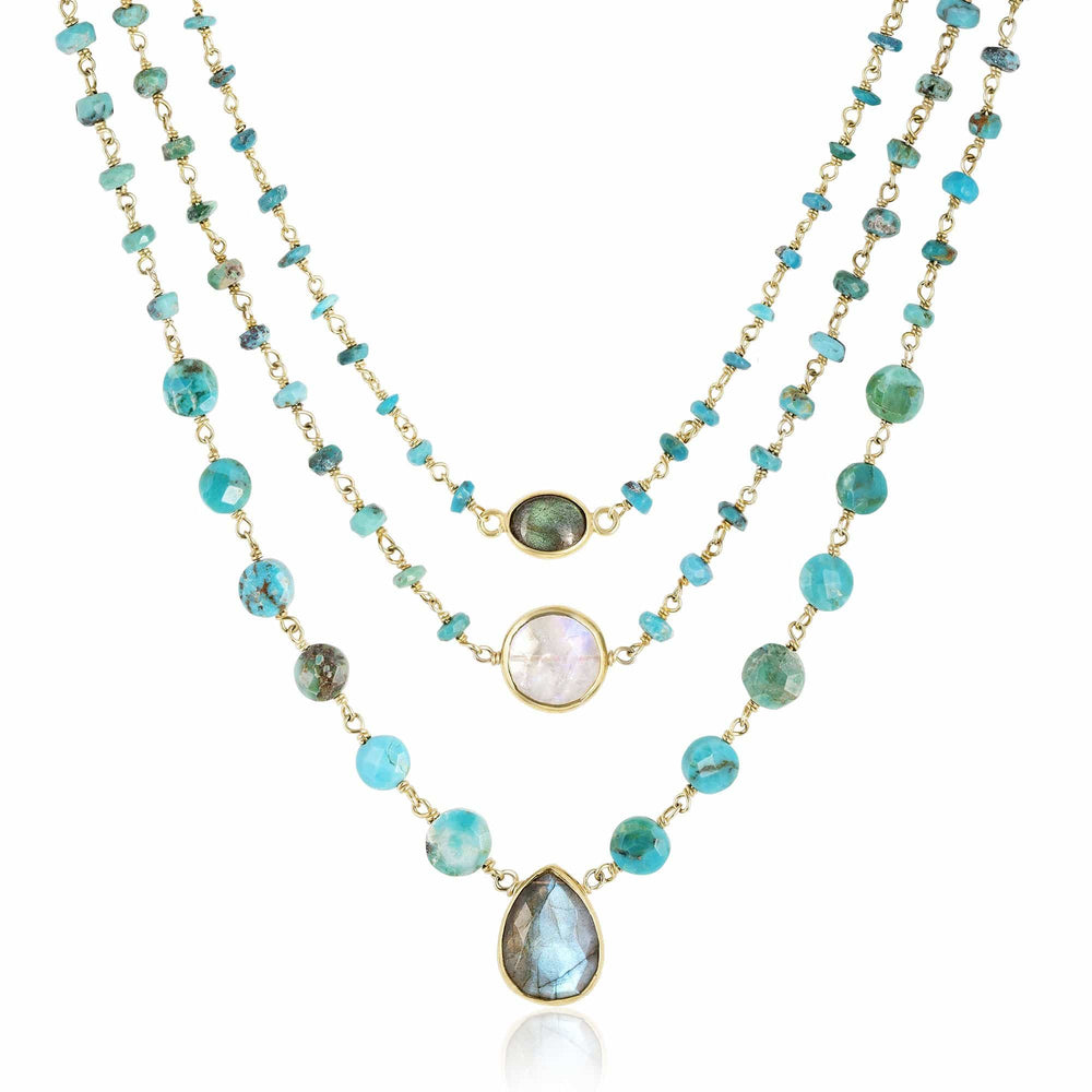 ela rae turquoise necklace set of 4 turquoise labradorite 14k yellow gold plate
