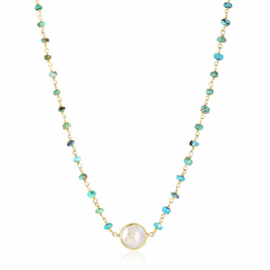 ela rae libi II choker necklace turquoise rainbow moonstone 14k yellow gold plate