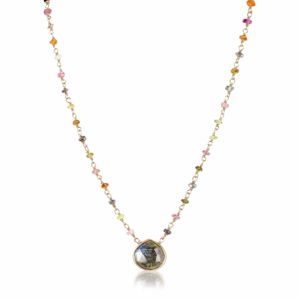 ela rae libi II heart shape tourmaline necklace labradorite pendant 14k yellow gold plate
