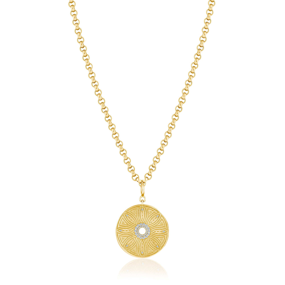 lara | flower medallion rolo chain
