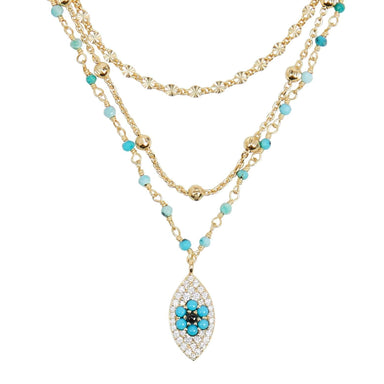 ela rae lina evil eye triple strand necklace turquoise 14k yellow gold plate