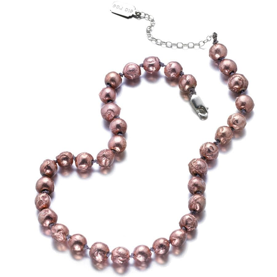 ela rae diana knots luxe balls necklace 14k rose gold plate