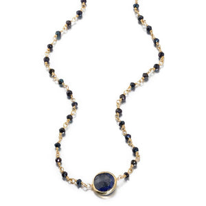 ela rae libi II choker necklace mystic black spinel sapphire 14k yellow gold plate