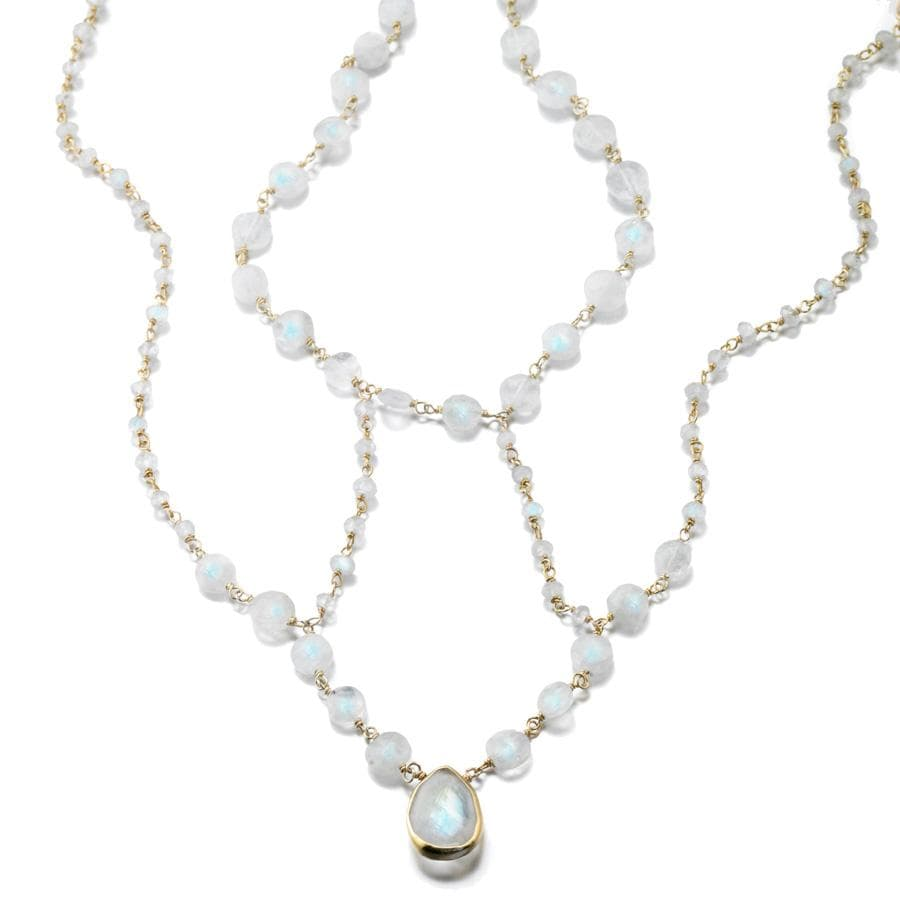 ela rae cleo necklace rainbow moonstone 14k yellow gold plate
