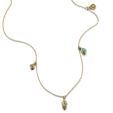 ela rae adams trinket necklace turquoise 14k yellow gold