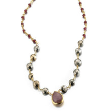 Load image into Gallery viewer, ela rae ara pendant necklace pyrite garnet brown moonstone 14k yellow gold plate