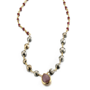 ela rae ara pendant necklace pyrite garnet brown moonstone 14k yellow gold plate